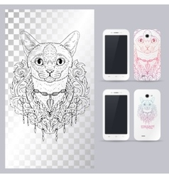 Black and white animal Cat head boho style vector image vector image