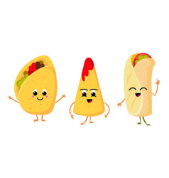 cute funny corn taco burrito and nachos with vector image