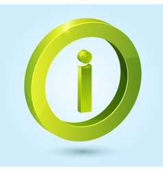 Green info symbol isolated on blue background vector image