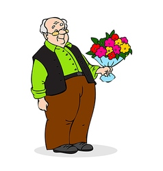 Old man with a bouquet of flowers Smiling vector image vector image