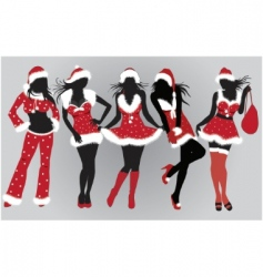 set of beautiful Christmas girls vector image