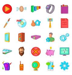app icons set cartoon style vector image vector image