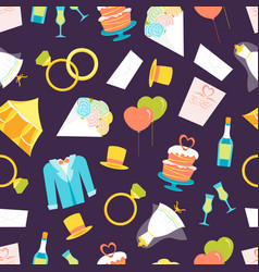 cartoon wedding seamless pattern background vector image