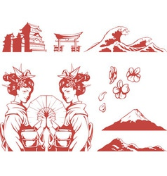 Japanese Set Girl in Kimono Sakura Mountain Castle vector image vector image
