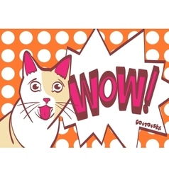 Scared worried surprised cat hand draw vector image