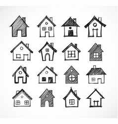 sketch of houses on white background vector image