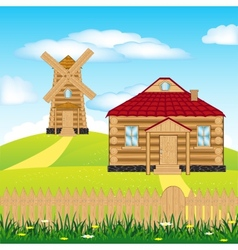 Wind mill on hill vector image vector image
