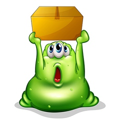 A green monster carrying a box vector image vector image