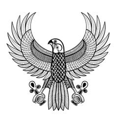 Hand drawn artistically Egypt Horus Falcon vector image