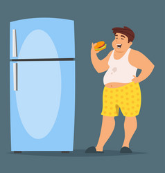 happy fat man character eating hamburger vector image