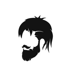 mens hairstyle with a beard and mustache vector image vector image