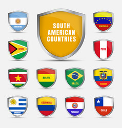 set shields with flags of the south american vector image