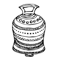 Silver wedding bell ship bell church bell ink vector
