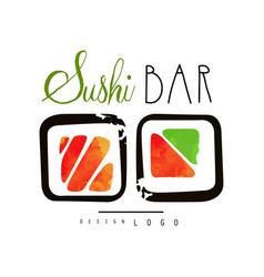 sushi bar logo japanese food label badge for vector image vector image