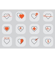 12 Heart icon black orange vector image vector image