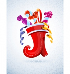 Christmas stocking with gift vector image vector image