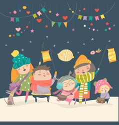 happy kids celebrating saint martins day vector image vector image