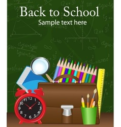 school supplies on the background vector image vector image