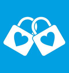 two locked padlocks with hearts icon white vector image vector image