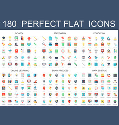 180 modern flat icons set of school stationery vector image
