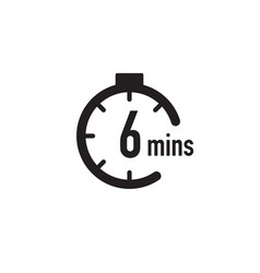 6 minutes timer stopwatch or countdown icon time vector