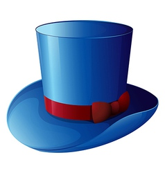 A blue hat with a red ribbon vector image