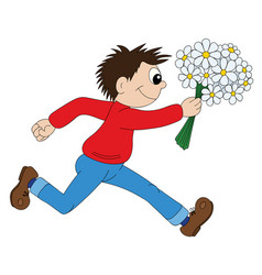 a cartoon boy running with flowers vector image