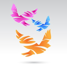 Abstract bird icons vector