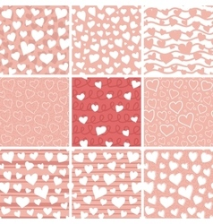 Abstract Hearts Seamless Patterns Set vector image