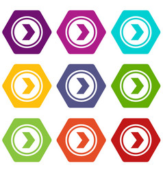Arrow to right in circle icon set color hexahedron vector