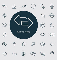 Arrows outline thin flat digital icon set vector