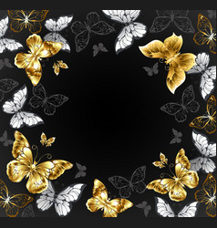 Black background with golden butterflies vector