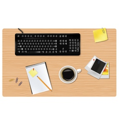 Black keyboard and office supplies vector