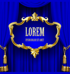 Blue curtain with a decorative gold baroque frame vector