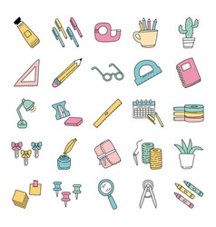 Bundle scrapbooking set icons vector