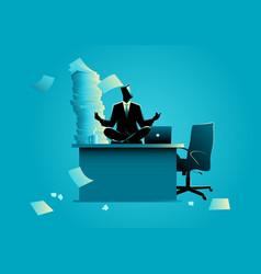 Businessman doing yoga on office table vector