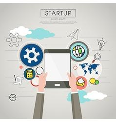 Businessman holding tablet for startup vector image