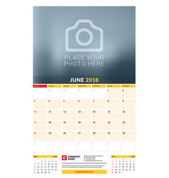 Calendar planner template for 2018 year june vector