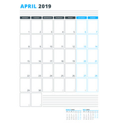 calendar template for april 2019 business planner vector image