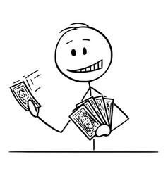 Cartoon man or businessman holding playing vector
