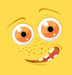 Cartoon monster face halloween yellow vector