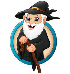 cartoon witch old man holding stick vector image