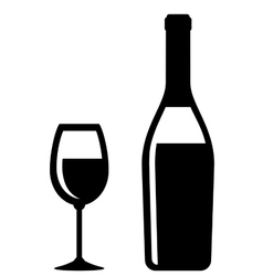 Champagne bottle and glass icon vector