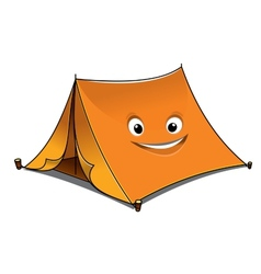 Cheerful cartoon orange tent vector image