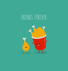 chicken leg bucket chicken legs friends forever vector image