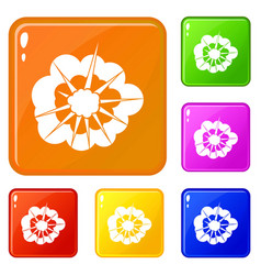 Cloudy explosion icons set color vector