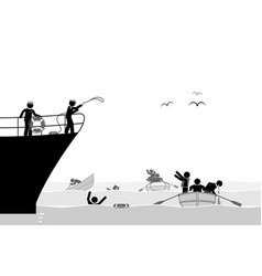 coast guard rescuing migrants from unsafe boats vector image