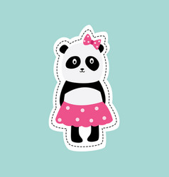cute cartoon panda girl in pink skirt and bow with vector image