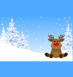 Cute deer in winter forest vector