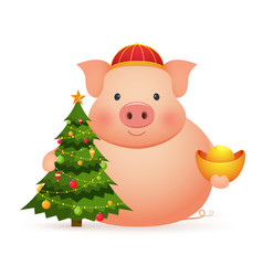 cute pig with chinese gold and christmas tree on vector image